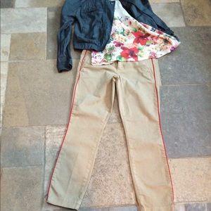 Khaki Pants with Orange Piping. Cropped.
